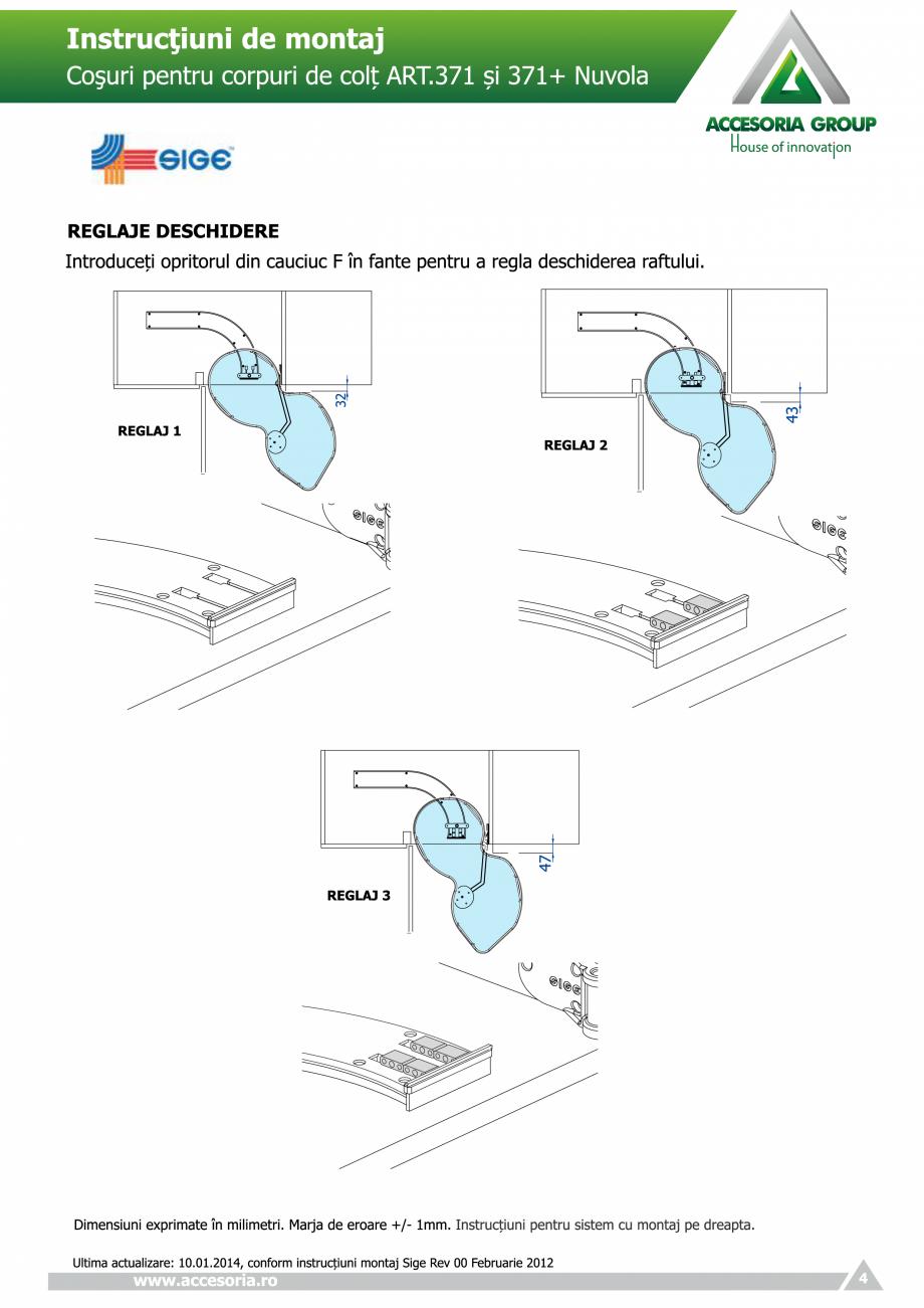 Pagina 4 - Cosuri pentru corpuri de colt  ACCESORIA GROUP Art 371 Nuvola Instructiuni montaj,...