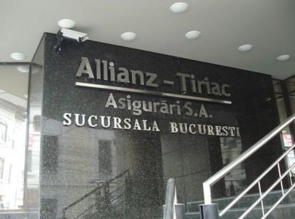 Firma din litere volumetrice din inox Sistem de iluminare Alliantz Tiriac