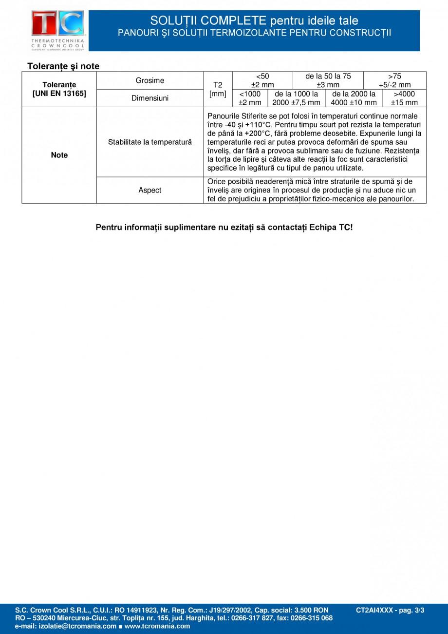 Pagina 3 - Panou termoizolant din spuma rigida de poliizocianurat (PIR) Stiferite Fisa tehnica...