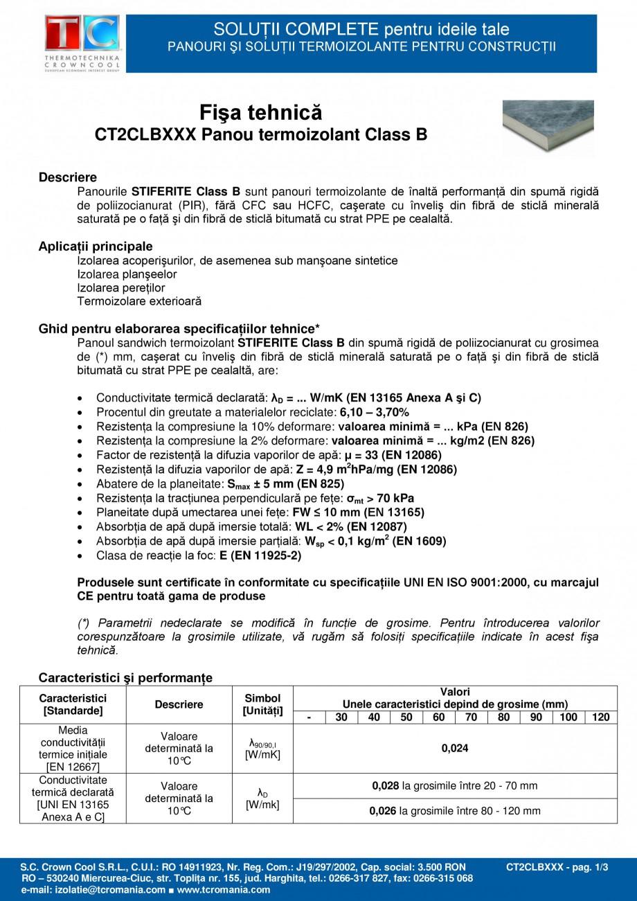 Pagina 1 - Panou termoizolant din spuma rigida de poliizocianurat (PIR) Stiferite Class B  Fisa...