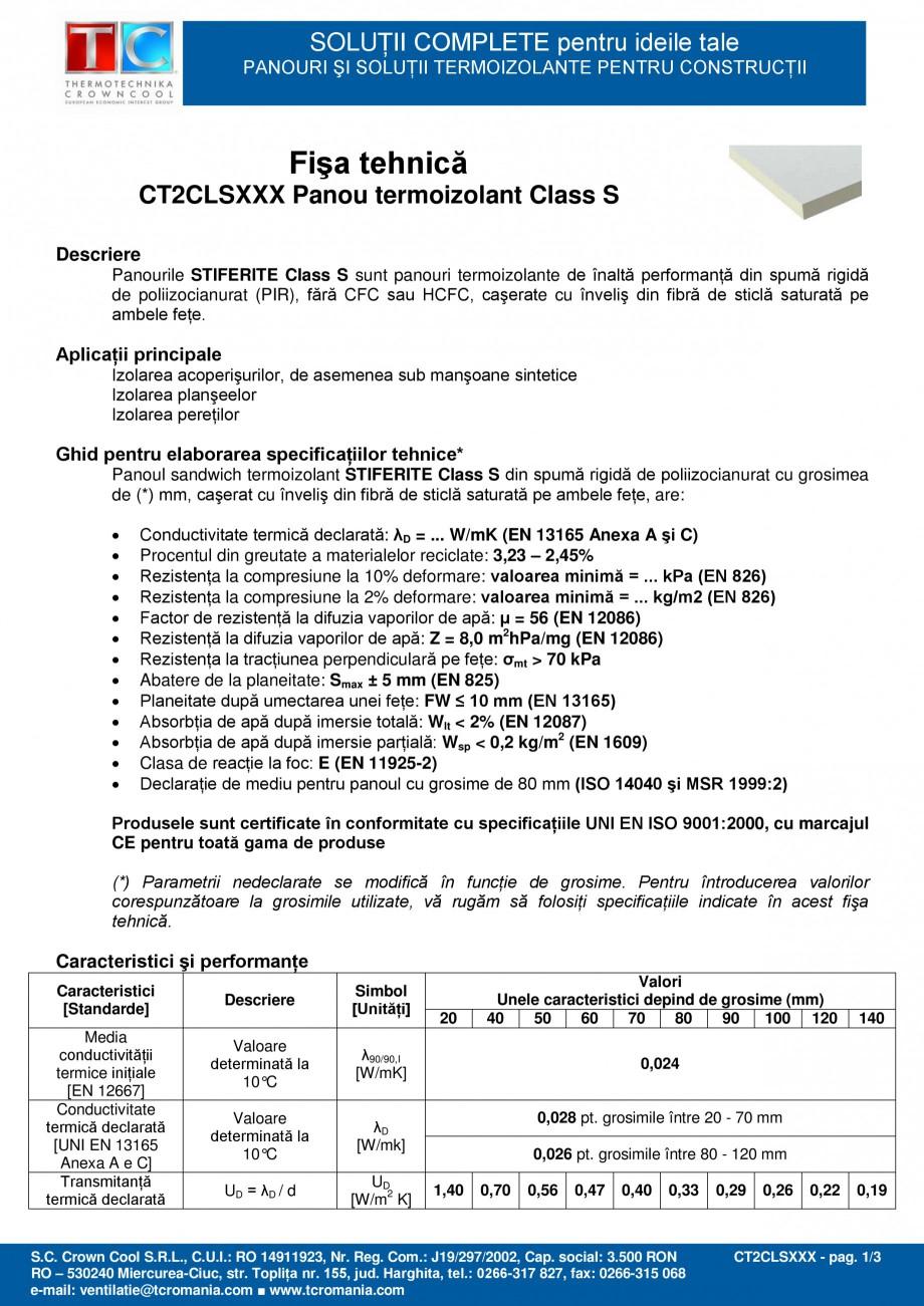 Pagina 1 - Panou termoizolant din spuma rigida de poliizocianurat (PIR) Stiferite Class S Fisa...
