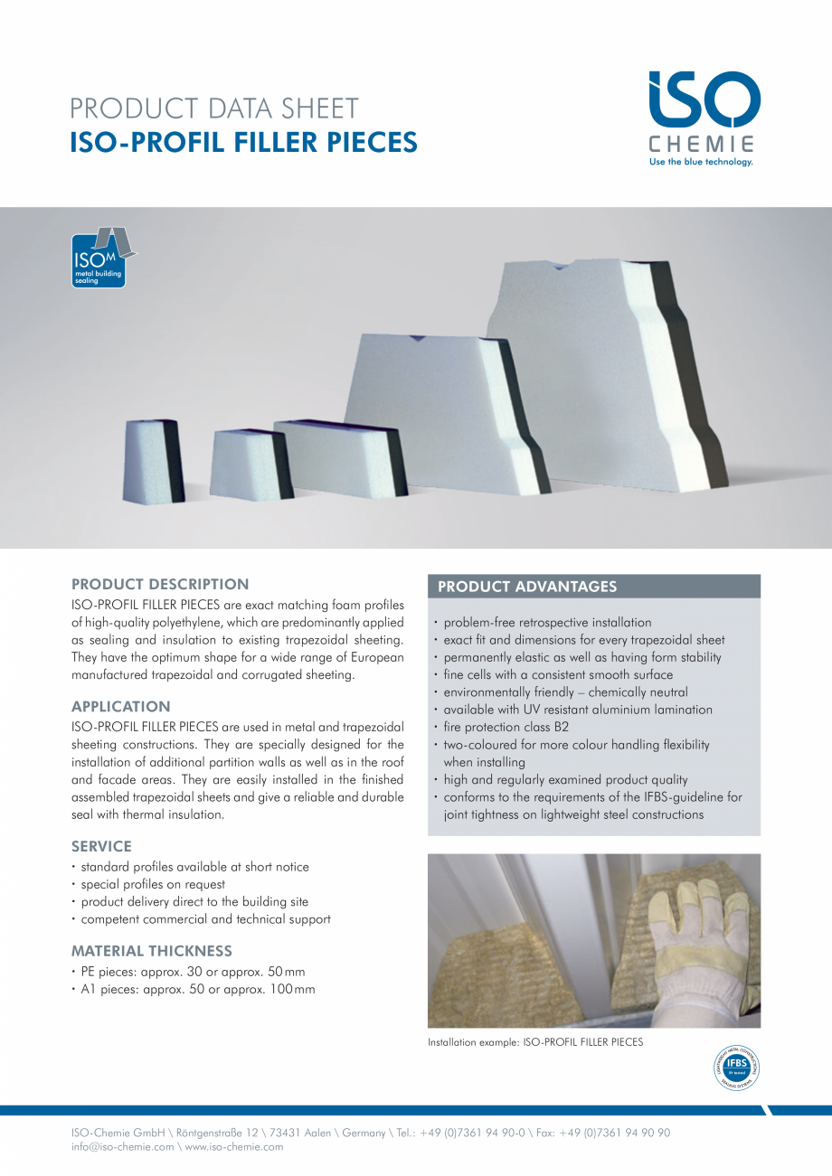 Pagina 1 - Profile din spuma PE  ISO Chemie ISO-PROFIL FILLER PIECES Fisa tehnica Engleza PRODUCT...