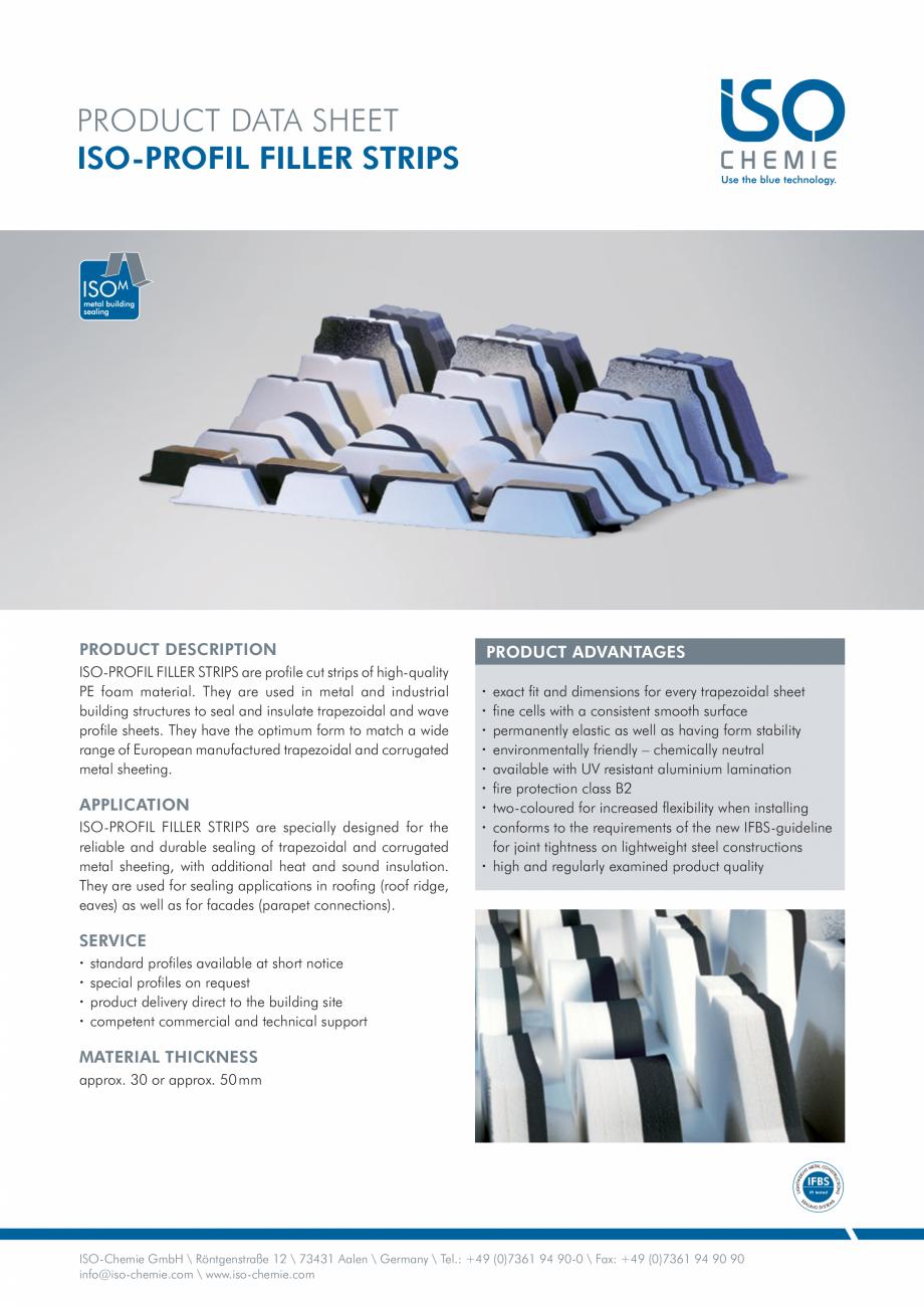 Pagina 1 - Profile din spuma PE  ISO Chemie ISO-PROFIL FILLER STRIPS Fisa tehnica Engleza PRODUCT...