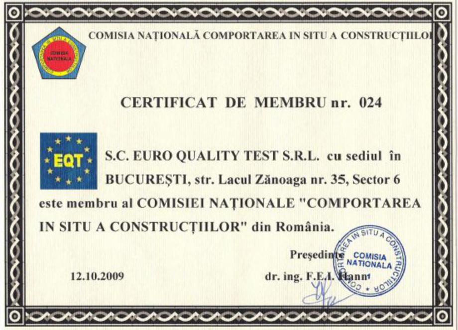 Pagina 1 - Certificat de membru nr.024 EURO QUALITY TEST Certificare produs Romana
