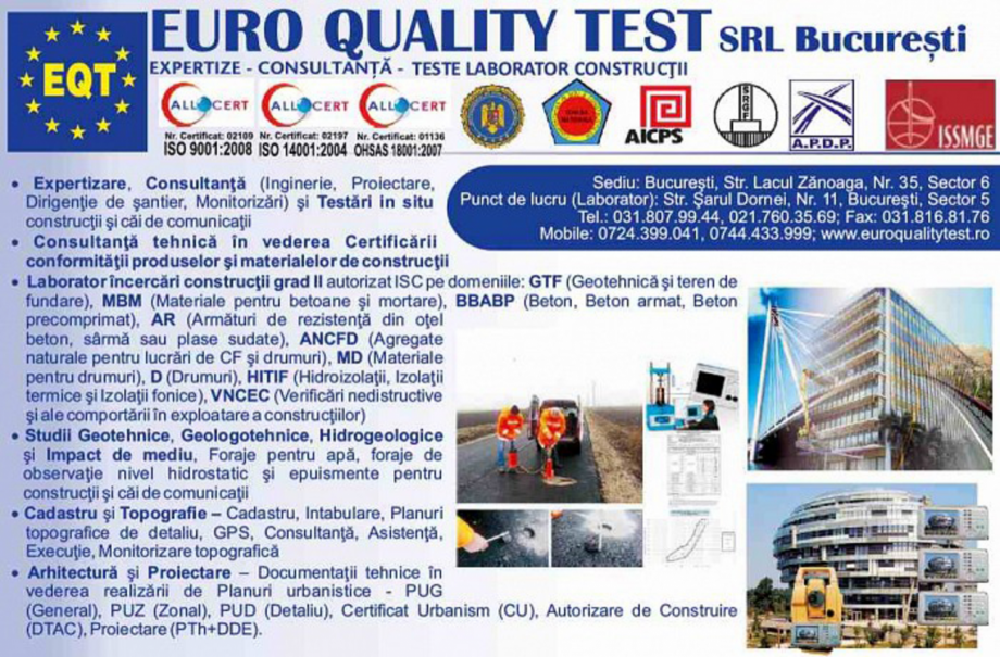 Pagina 1 - Prezentarea companiei EURO QUALITY TEST Catalog, brosura Romana