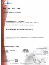 Certificat - Sistemul de Management al Sanatatii si Securitatii Ocupationale