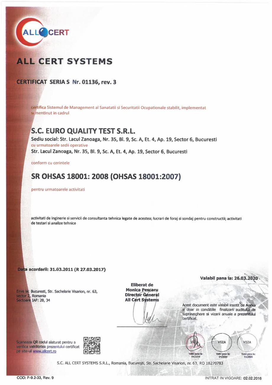 Pagina 1 - Certificat - Sistemul de Management al Sanatatii si Securitatii Ocupationale EURO QUALITY...