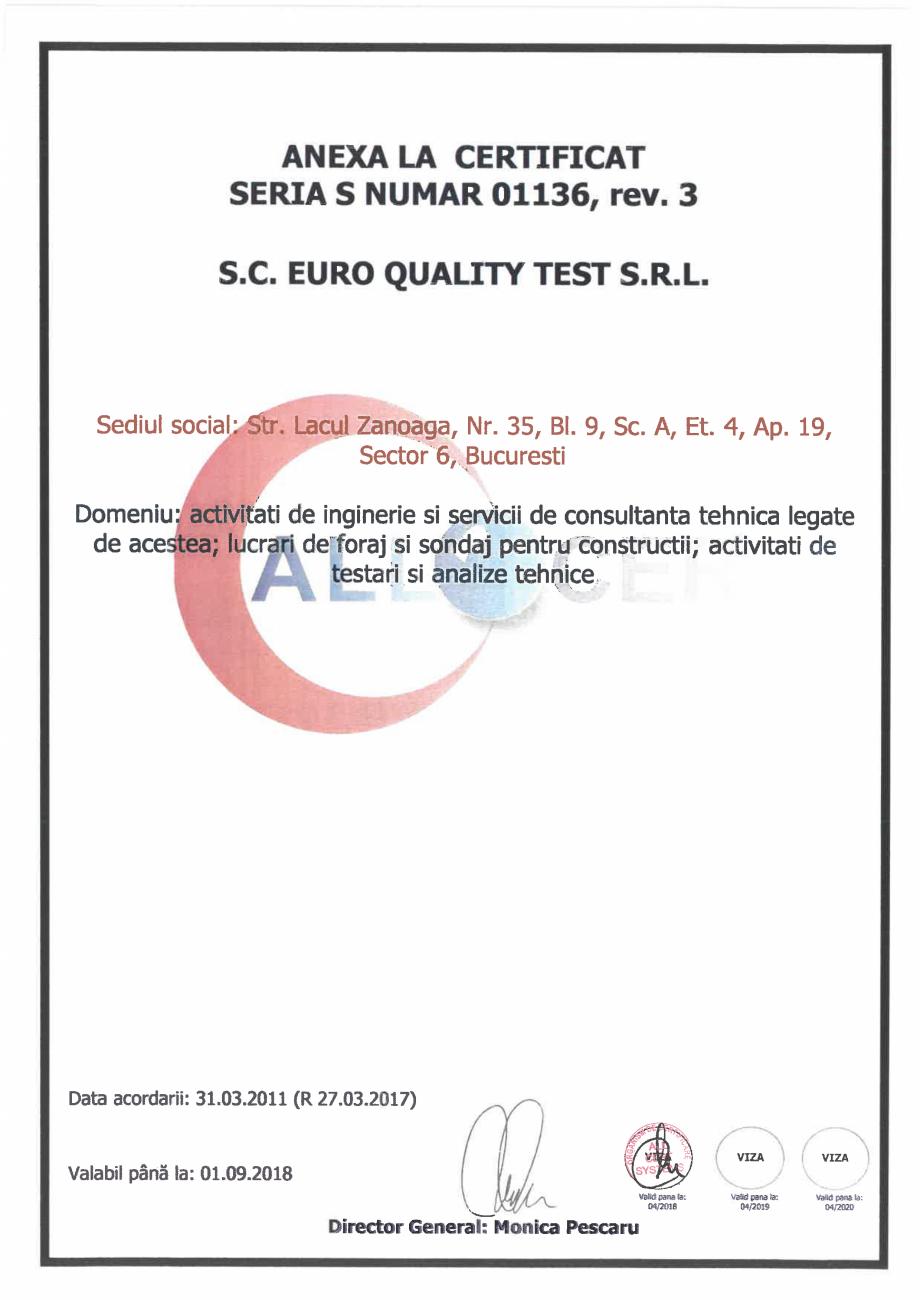 Pagina 2 - Certificat - Sistemul de Management al Sanatatii si Securitatii Ocupationale EURO QUALITY...