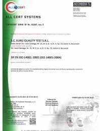 Certificat - Sistemul de Management de Mediu