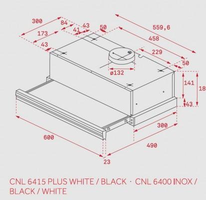 Hota telescopica CNL 6400 Inox / Black / White, CNL 6415 Plus Black, CNL 6415 Plus White Dimensiuni