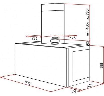 Hota incorporabila / free-standing DHI 90 Dimensiuni