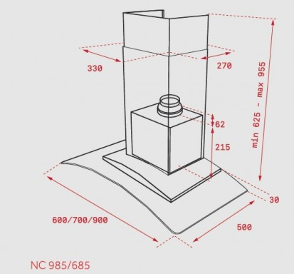 Hota semineu NC 985, NC 685 Dimensiuni