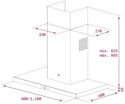 Hota semineu PERFECTA4 DLH 1185, PERFECTA4 DLH 985 T Dimensiuni