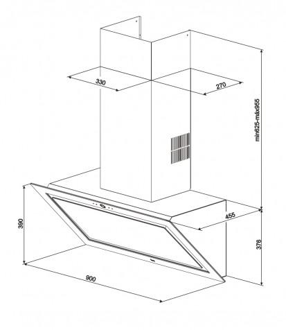 Hota semineu Quadro DLV 998 Black Dimensiuni