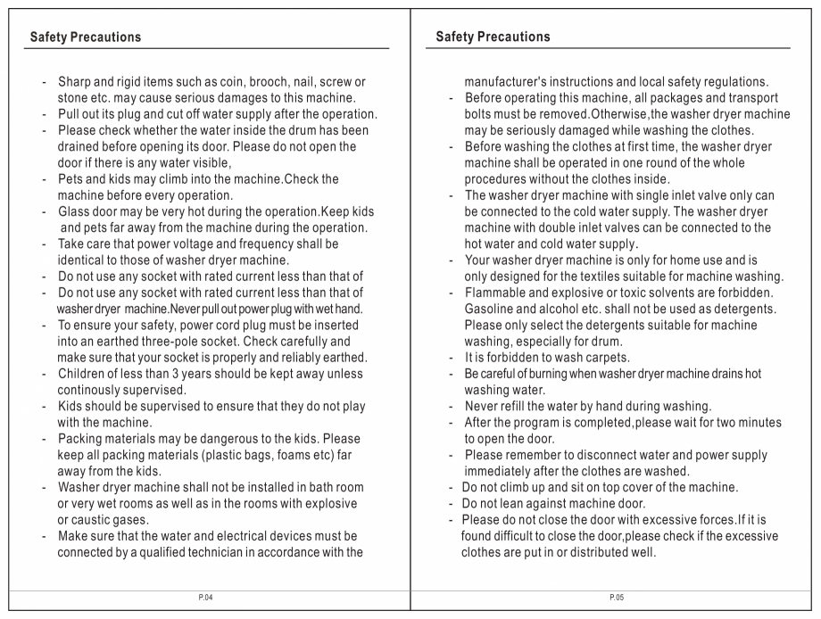 Pagina 3 - Masina de spalat rufe TEKA SPA TKD 1610 WD Instructiuni montaj, utilizare Engleza,...
