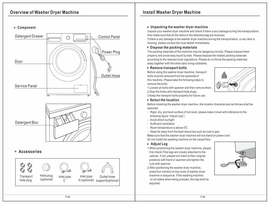 Pagina 5 - Masina de spalat rufe TEKA SPA TKD 1610 WD Instructiuni montaj, utilizare Engleza,...