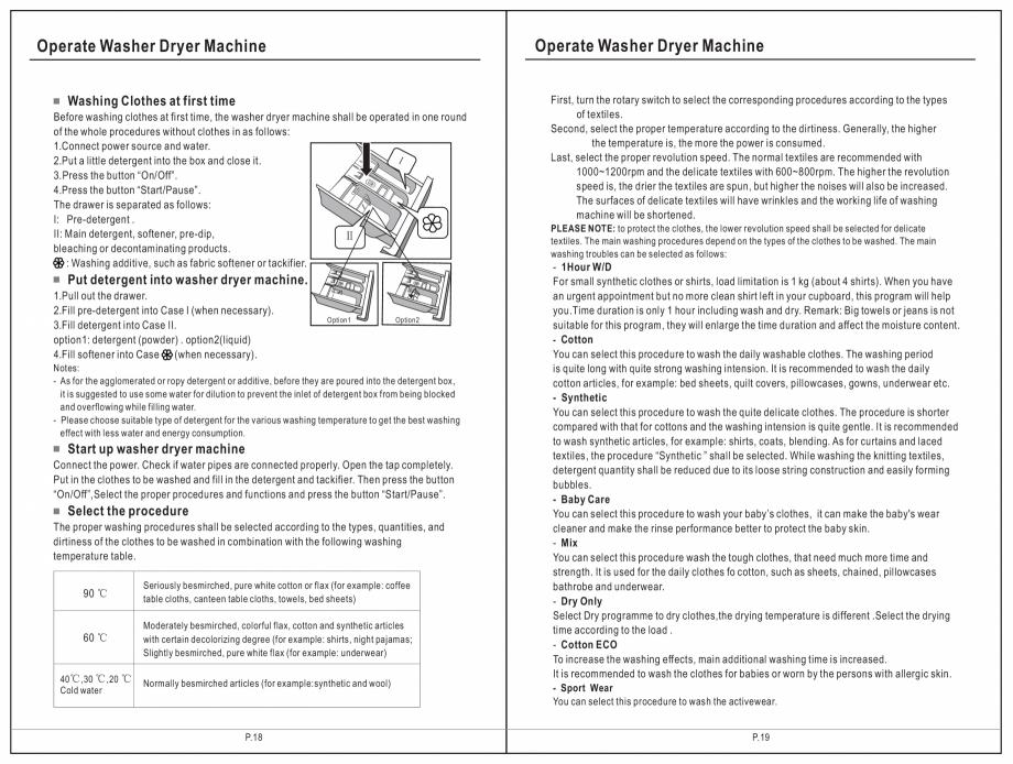 Pagina 10 - Masina de spalat rufe TEKA SPA TKD 1610 WD Instructiuni montaj, utilizare Engleza,...