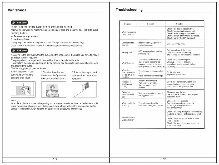 Pagina 14 - Masina de spalat rufe TEKA SPA TKD 1610 WD Instructiuni montaj, utilizare Engleza,...