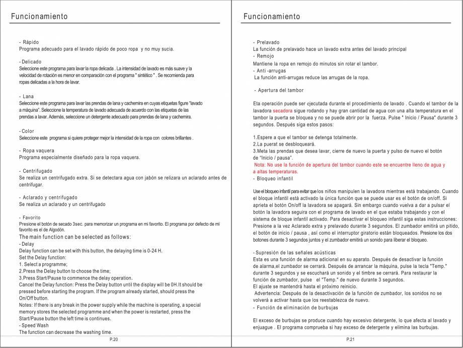 Pagina 26 - Masina de spalat rufe TEKA SPA TKD 1610 WD Instructiuni montaj, utilizare Engleza,...