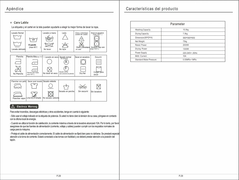Pagina 30 - Masina de spalat rufe TEKA SPA TKD 1610 WD Instructiuni montaj, utilizare Engleza,...