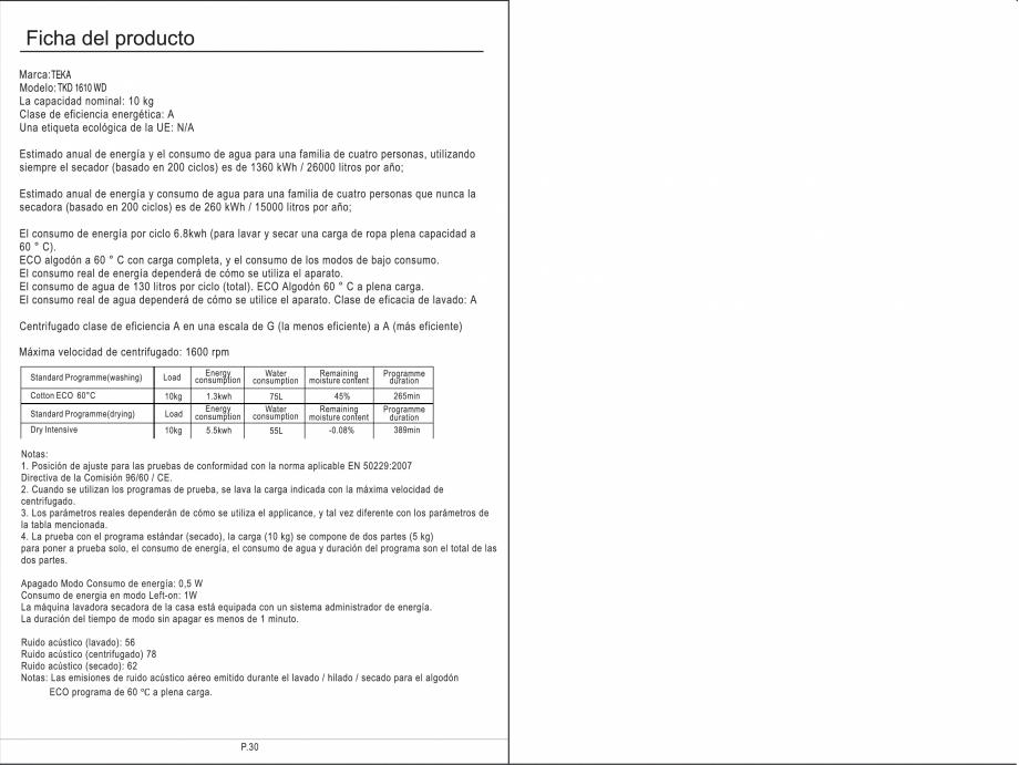 Pagina 31 - Masina de spalat rufe TEKA SPA TKD 1610 WD Instructiuni montaj, utilizare Engleza,...