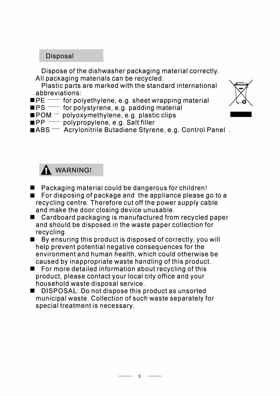 Pagina 5 - Masina de spalat vase TEKA DW8 55 FI Instructiuni montaj, utilizare Engleza