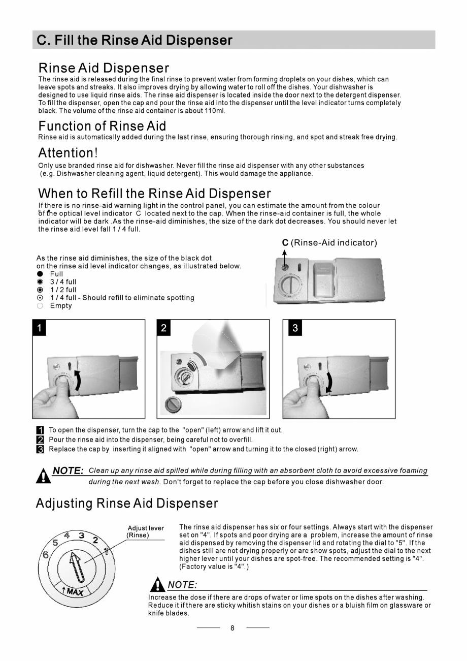 Pagina 10 - Masina de spalat vase TEKA DW8 55 FI Instructiuni montaj, utilizare Engleza