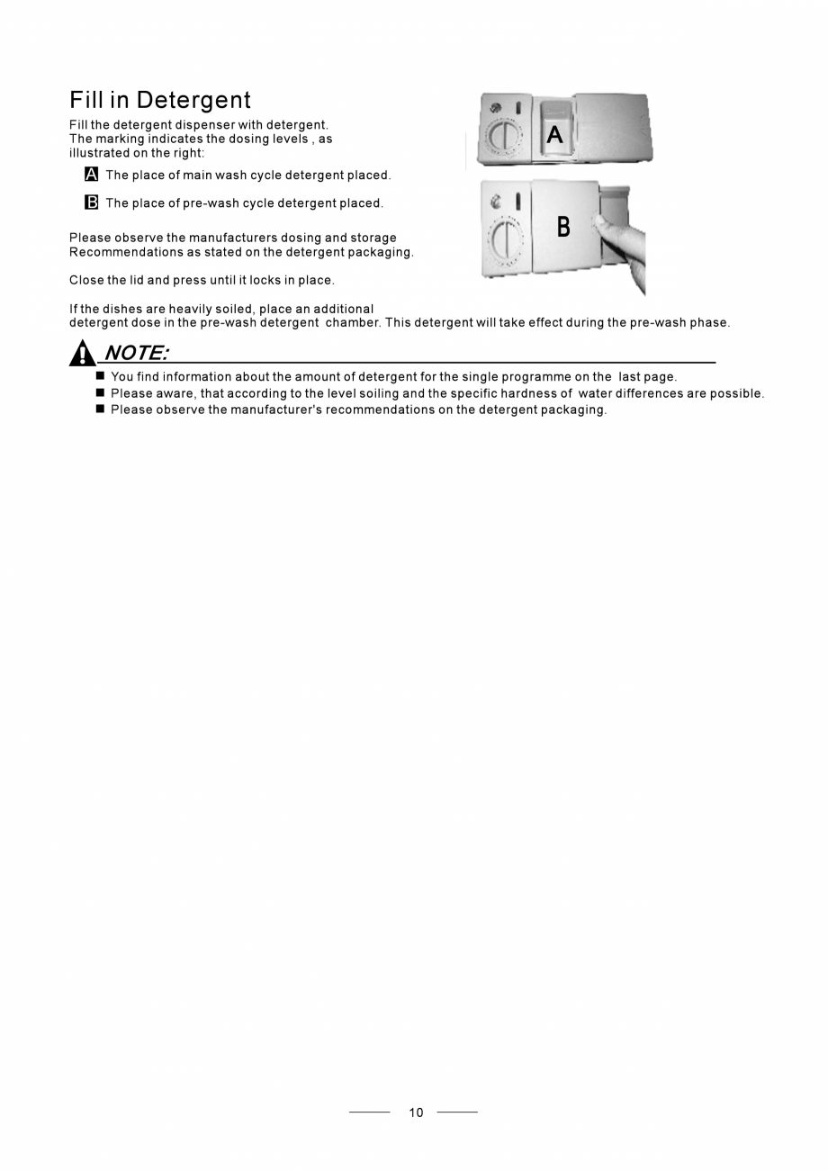 Pagina 12 - Masina de spalat vase TEKA DW8 55 FI Instructiuni montaj, utilizare Engleza