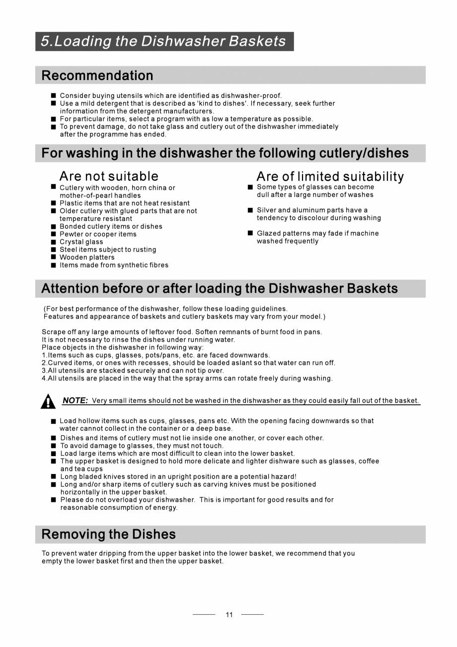 Pagina 13 - Masina de spalat vase TEKA DW8 55 FI Instructiuni montaj, utilizare Engleza