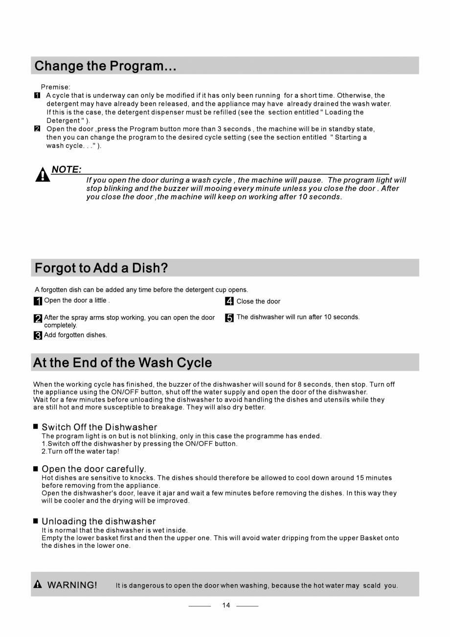 Pagina 16 - Masina de spalat vase TEKA DW8 55 FI Instructiuni montaj, utilizare Engleza