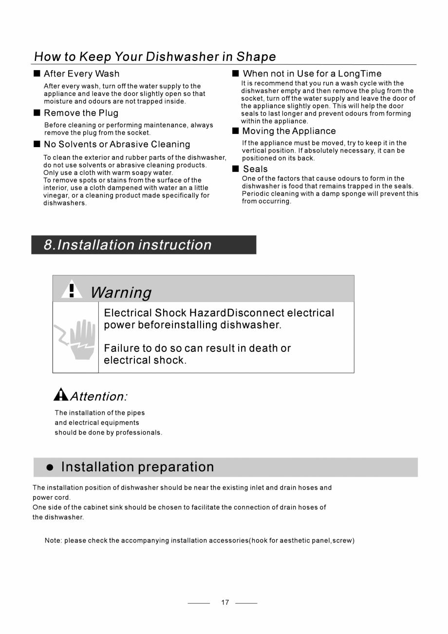 Pagina 19 - Masina de spalat vase TEKA DW8 55 FI Instructiuni montaj, utilizare Engleza