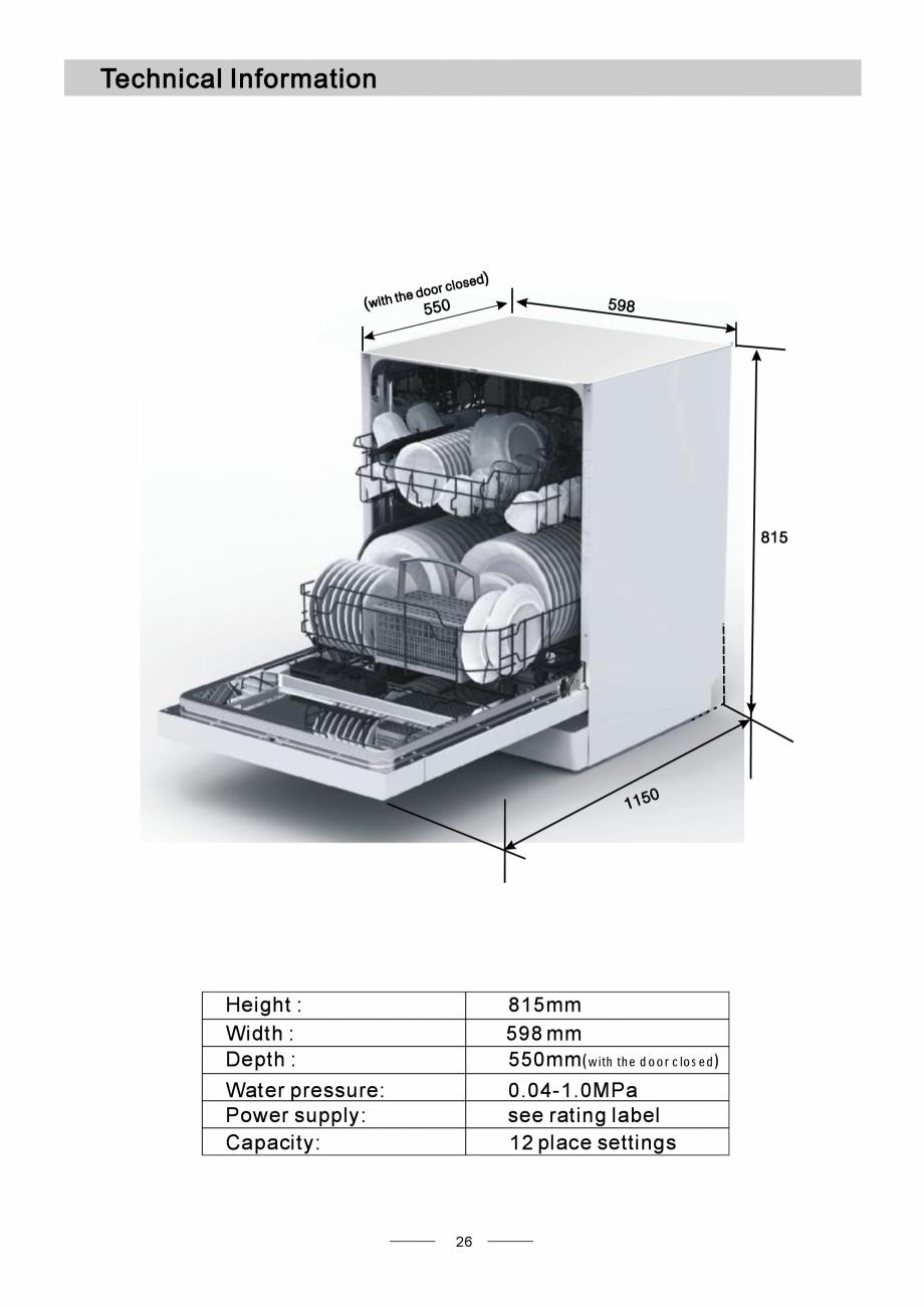 Pagina 28 - Masina de spalat vase TEKA DW8 55 FI Instructiuni montaj, utilizare Engleza