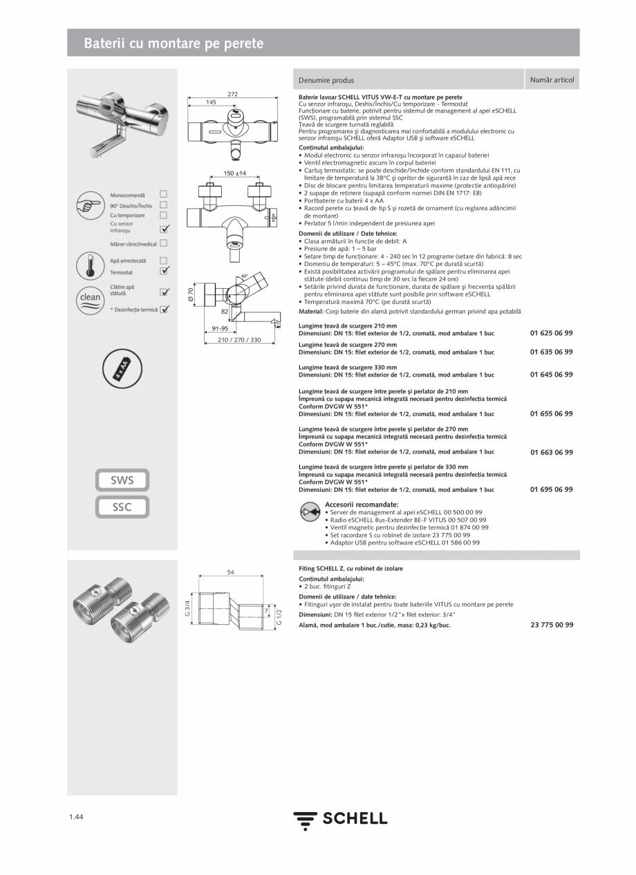 Pagina 62 - Schell - Catalog general - 2020-2021  Catalog, brosura Romana e / Date tehnice: •...