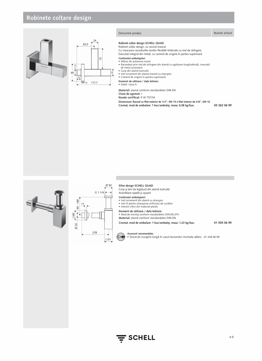 Pagina 167 - Schell - Catalog general - 2020-2021  Catalog, brosura Romana 99 • Robinet colţar cu...