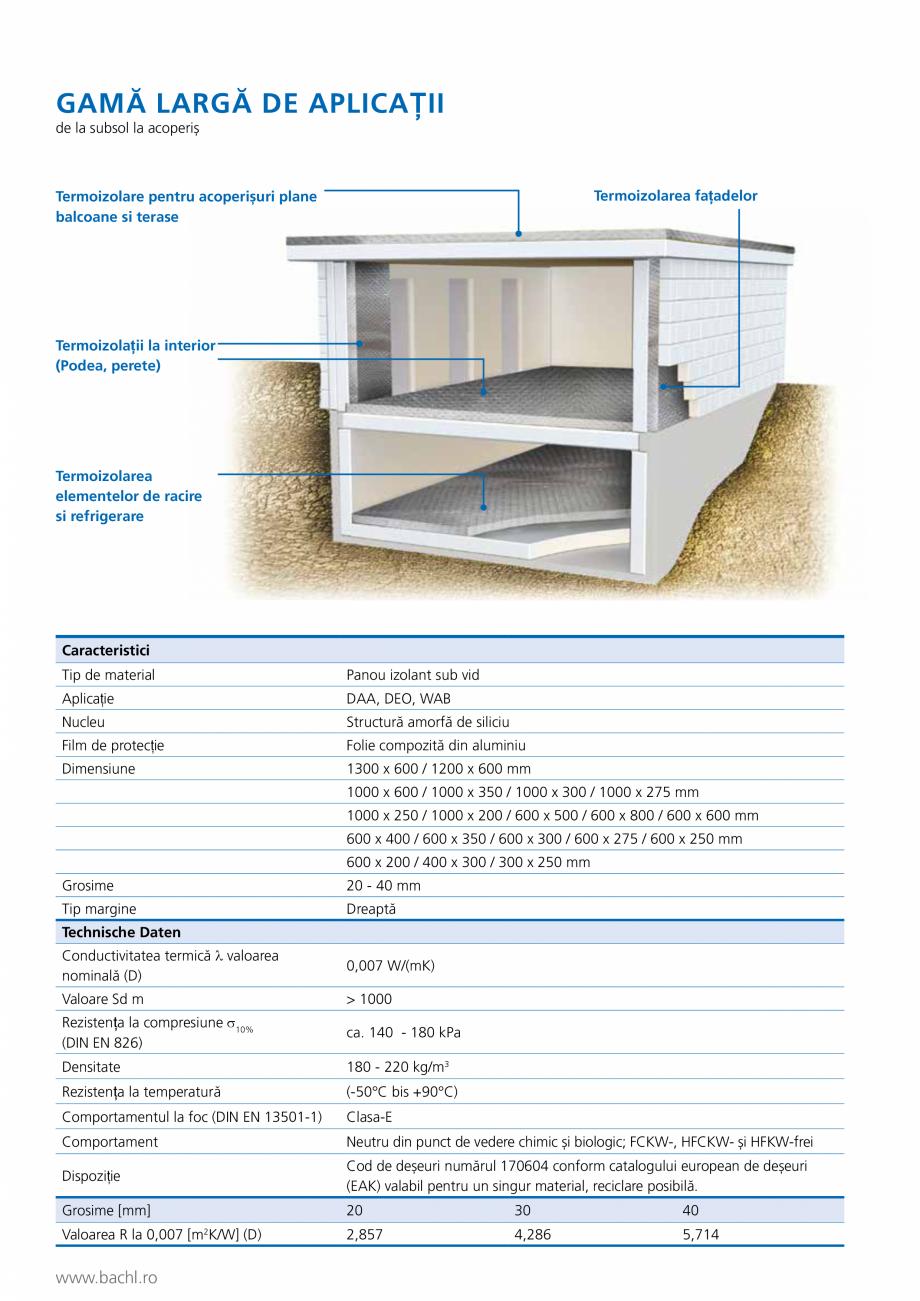 Pagina 2 - Panou de izolare termica BACHL Vacuboard Fisa tehnica Romana  margine  Dreaptă ...