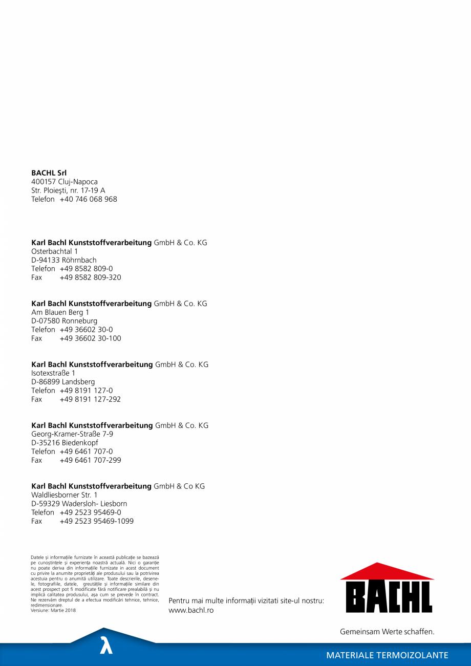 Pagina 6 - Panou de izolare termica BACHL Vacuboard Fisa tehnica Romana 3 95469-0 Fax  +49 2523...