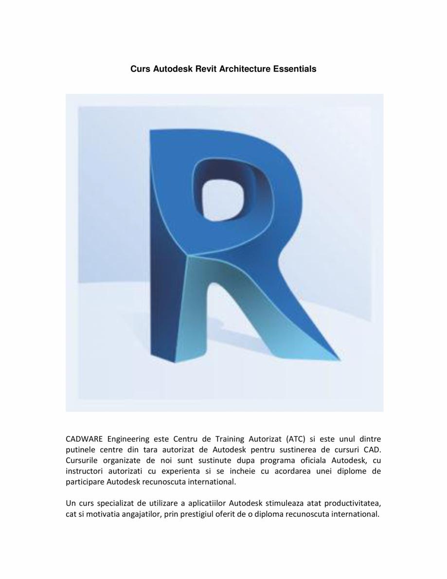 Pagina 1 - Curs Autodesk Revit Architecture CADWARE Engineering Autodesk Revit Architecture...