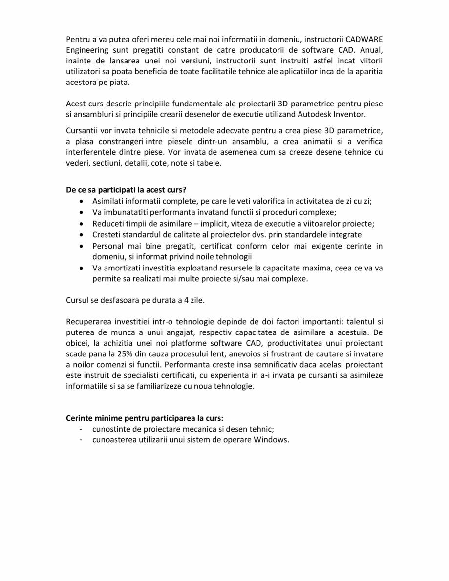 Pagina 2 - Curs Autodesk CADWARE Engineering Autodesk Inventor Essentials Catalog, brosura Romana...