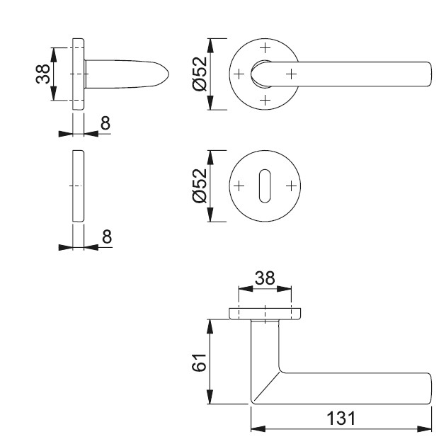 Schiță dimensiuni Set de manere cu rozete Stockholm E1140