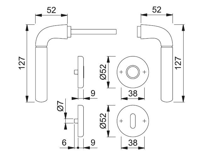 Schiță dimensiuni Set de manere cu rozete Bari M1995
