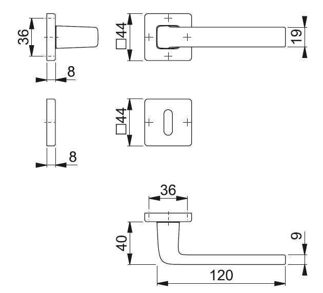 Schiță dimensiuni Set de manere cu rozete Dublin 1124