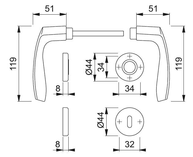 Schiță dimensiuni Set de manere cu rozete Milano 143