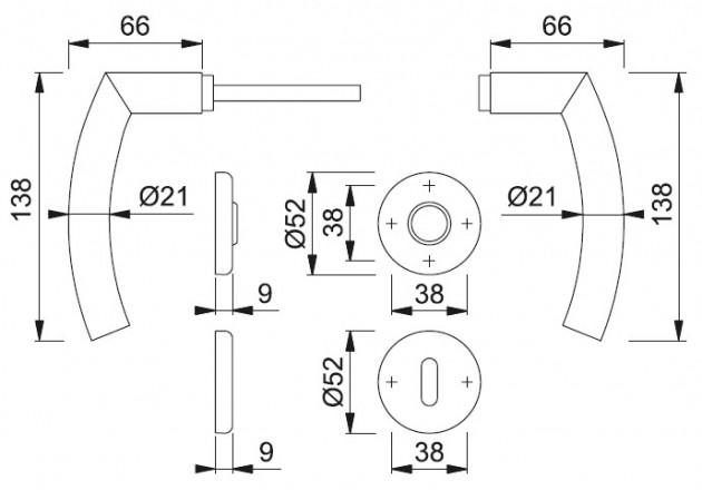 Schiță dimensiuni Set de manere cu rozete Narvik E1430ZP
