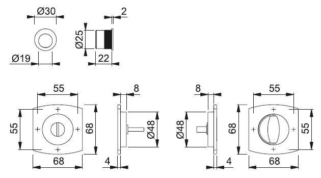 Schiță dimensiuni Set pentru usa glisanta din alama Acapulco - M462