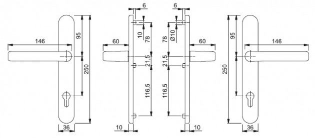 Schiță dimensiuni Set de manere cu sild Liverpool (M)1313