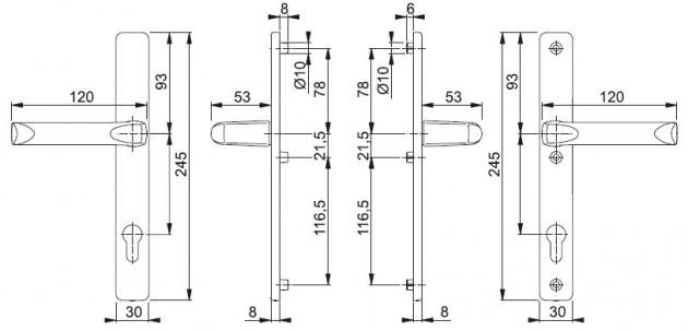 Schiță dimensiuni Set de manere cu sild London 113