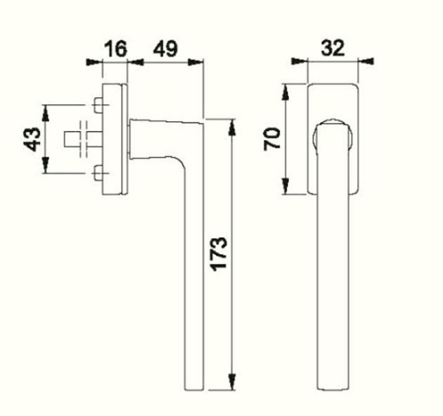 Schiță dimensiuni Maner pentru usa glisanta Dallas PSK-M0643