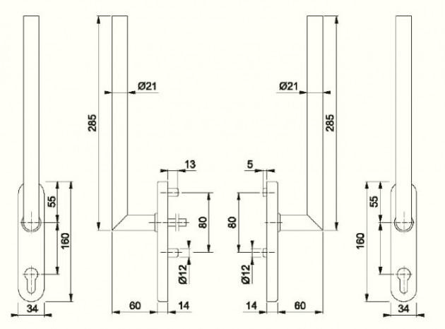 Schiță dimensiuni Manere pentru usa glisanta cu ridicare din otel inox Amsterdam HS-E0400Z