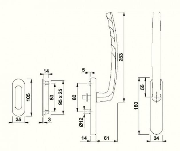 Schiță dimensiuni Manere pentru usa glisanta cu ridicare din aluminiu Atlanta HS-0530
