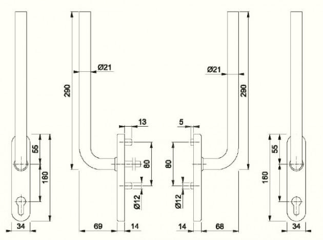 Schiță dimensiuni Manere pentru usa glisanta cu ridicare din otel inox Bonn HS-E050
